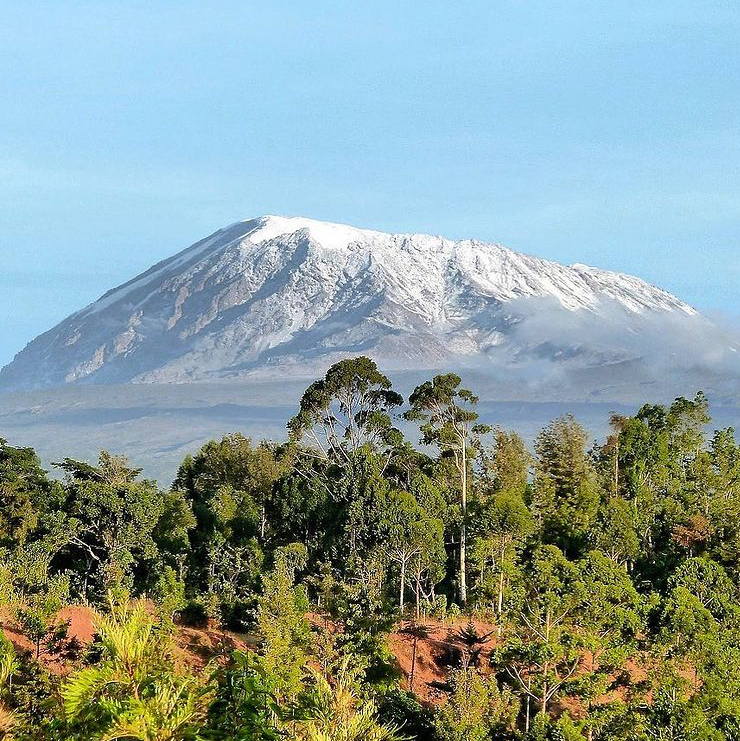 view of Mt. Kilimanjaro from Moshi town